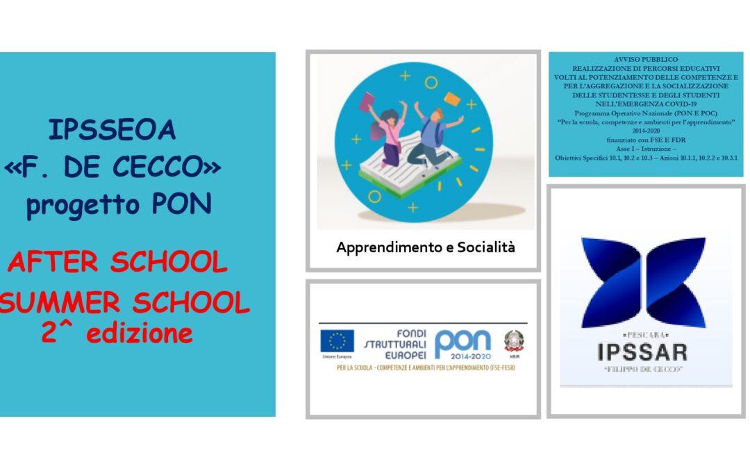 PON After School Summer School 2° edizione