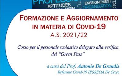 """Corso delegati verifica """"Green pass"""""""
